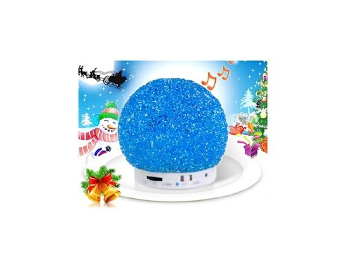 Wruidogo Mini Crystal Snowball Design Wireless Bluetooth Speaker With Led Light & Tf Card Reader (Blue)
