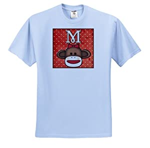 Dooni Designs Monogram Initial Designs - Cute Sock Monkey Girl Initial Letter M - T-Shirts - Youth Light-Blue-T-Shirt Small(6-8)