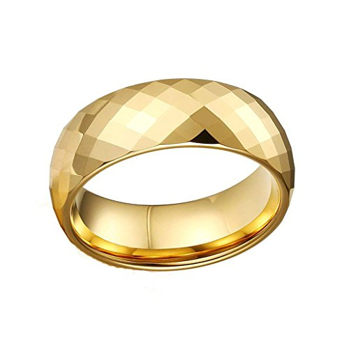 Mens Wedding Band Stainless Steel Gold Simple Bling Prismatic 8MM Size 10 by Aienid
