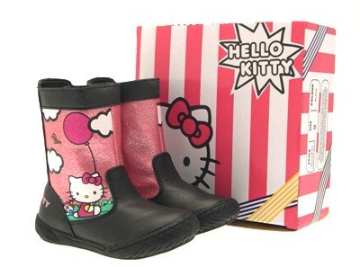 HELLO KITTY GIRLS KIDS MID CALF FAUX LEATHER SNOW BOOTS BLACK ANKLE SHOES sizes 6 - 12