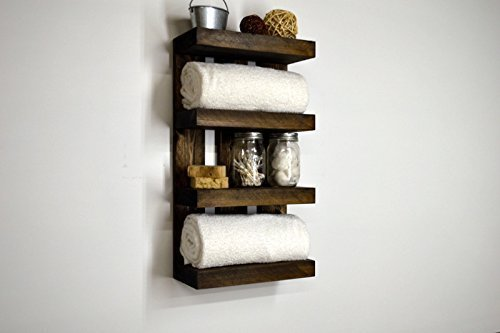 Hotel bathroom towel shelf