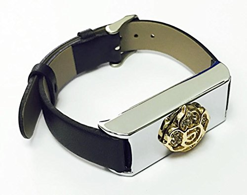 BSI-Black-Leather-Band-With-Silver-Metal-Plain-Housing-And-Rhinestones-Gold-Color-Rose-Flower-Jewelry-Ornament-For-Fitbit-Flex-Wireless-Activity-Fitness-Tracker