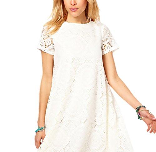 KINGDESON Women's Elegant Beach Hollow Out Lace A-Line Dress