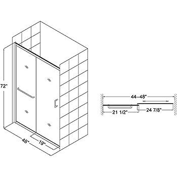 DreamLine Infinity-Z 44-48 in. Width,Semi - Framed Sliding Shower Door, 1/4