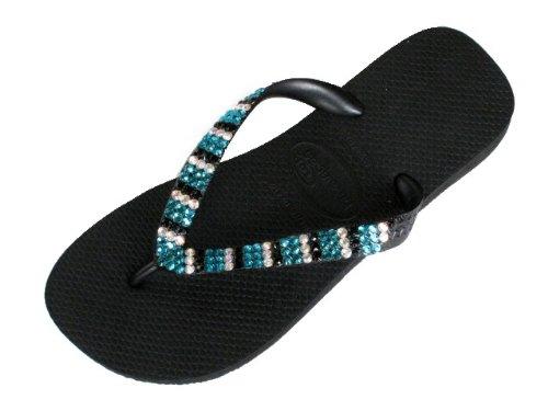 Cheap BLUE ZIRCON, JET and CRYSTAL AB STRIPES Swarovski Crystal Havaianas Flip Flops Sandals Thongs sizes 5-11 (B002HFMZZ4)