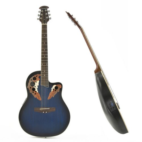 Deluxe Round Back Acoustic Guitar Blue Burst