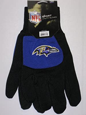 NFL Baltimore Ravens Colorblock Utility Gloves, Black