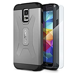 Galaxy S5 Case, OBLIQ [Xtreme Pro][Gun Metal] + Screen Shield - Premium Slim Tough Thin Armor Fit Bumper Smooth Finish Dual Layered Heavy Duty Hard Protection Cover for Samsung Galaxy S5