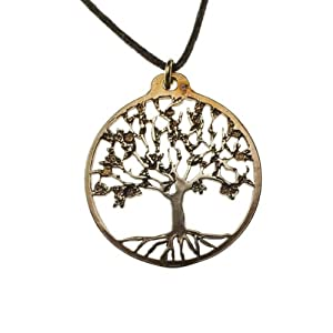 Small Tree of Life Peace Bronze Pendant Necklace on Adjustable Natural Fiber Cord