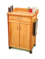 Catskill Craftsmen Butcher Block Cart with Flat Doors and Backsplash by Catskill