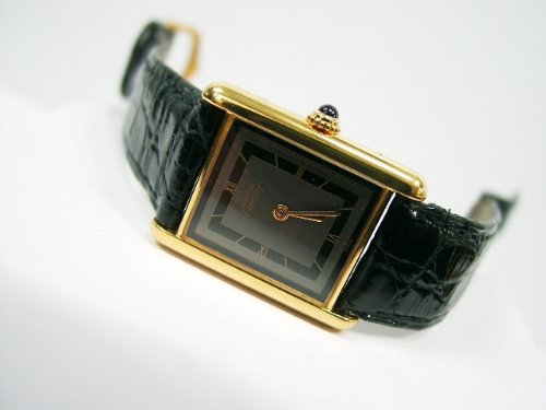 Cartier Tank Watch - Vintage/Antique watch: Pre-owned Women's Cartier Watch Vermeil Two-Tone Dial Swiss Quartz 1980's from astore.amazon.com