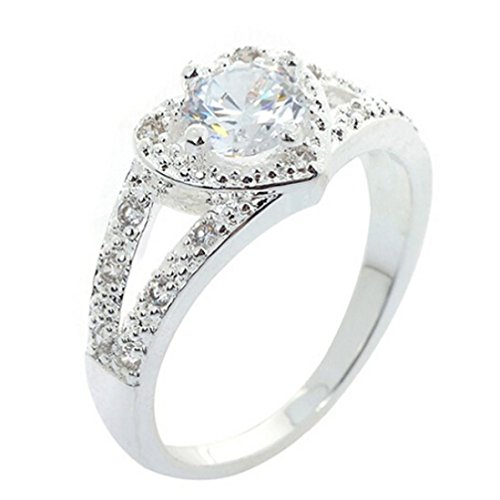 Sankuwen Women's Chic Sterling Silver Crystal Heart Shaped Love Wedding Ring (9)