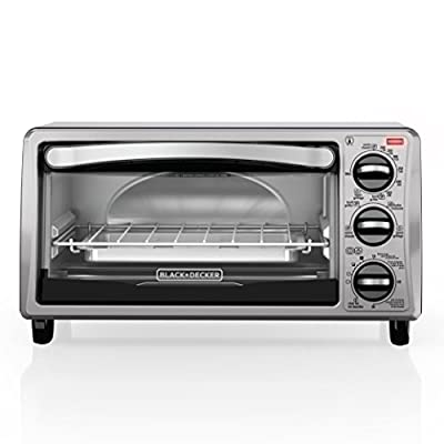 BLACK+DECKER 4-Slice Toaster Oven, Includes Bake Pan, Broil Rack & Toasting Rack, Stainless Steel/Black Toaster Oven