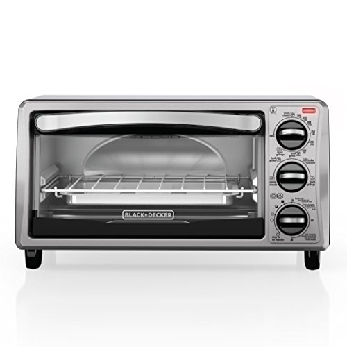 BLACK+DECKER TO1313SBD 4-Slice Toaster Oven, Includes Bake Pan, Broil Rack & Toasting Rack, Stainless Steel/Black Toaster Oven (Compact Stainless Toaster Oven compare prices)