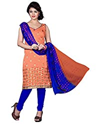 Latest Designer Collection Solid Embroided Festive Wear Cotton Orange Un Stitch Branded Salwar Suit Dress Material for girls ladies by Lookslady