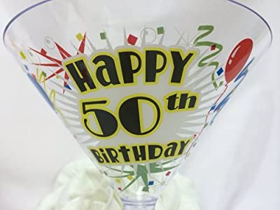 50 Year Old Plastic Adult Birthday Martini Toasting Cup Party Celebration Party