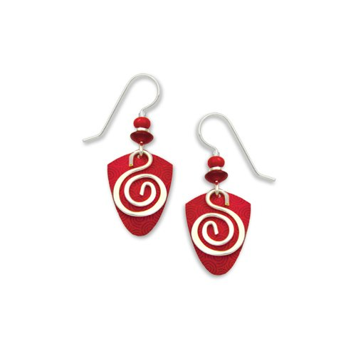 Adajio By Sienna Sky Red Silver Spiral Overlay Earrings 7227
