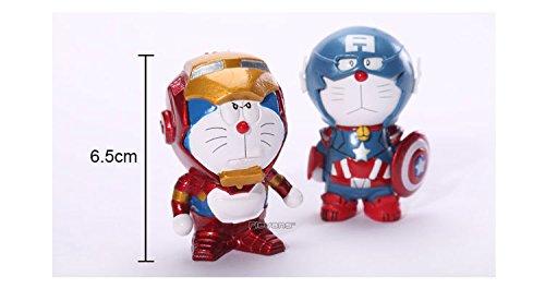Anime Cartoon Doraemon Cosplay Iron Man Captain America PVC Action Figure Collrctible Toys 2-pack DRFG034