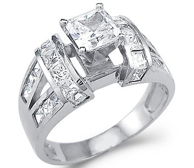large solid 14k white gold princess cut cz cubic zirconia engagement ring 20 ct - White Gold Cubic Zirconia Wedding Rings