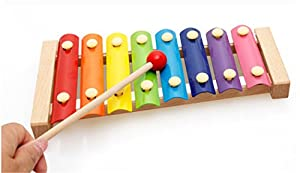 Holzsammlung® Creative Hand Knot 8 Tone Beat Baby Xylophone Brilliant Basics Classic Wooden Musical Toys - Perfect Christmas Gift for Your Kids