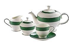 Hitkari Potteries Cup and Saucer Set, 17-Pieces, Green