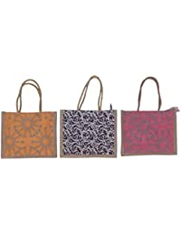 ABV Lunch Bag, Jute Bag, Small Size 25x21x12cm (Yellow Black And Pink Color)-Pack Of 3 Bags