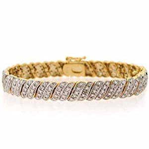 18K Gold Over Sterling Silver Diamond Accent S Tennis Bracelet