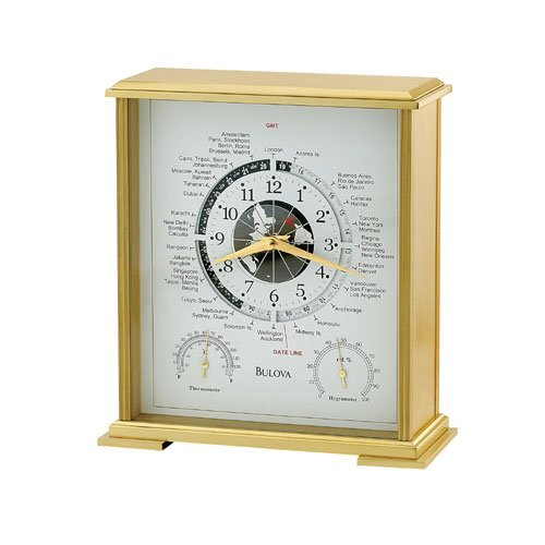 Bulova Quest World Time Table Clock w/Temp & Humidity - B2257