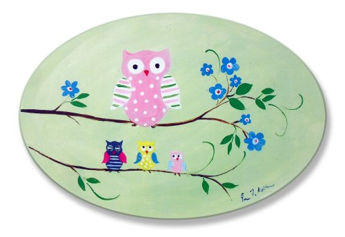 The Kids Room by Stupell Owls on Branches Oval Wall Plaque