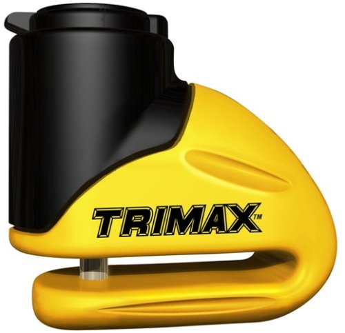Trimax T645S Hardened Metal Disc Lock - Yellow 5.5mm Pin (Short Throat) with Pouch & Reminder Cable