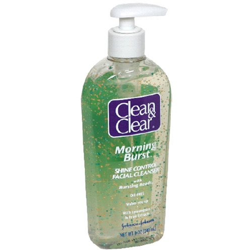 Clean & Clear Morning Burst Shine Control Facial Cleanser, 8-Ounce Pump Bottles (Pack Of 3)
