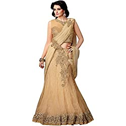 Designer Embroidered PartyWear Beige Satin Chiffon Lehenga Saree With Glitter Netted Velvet Work Designed by vasu saree