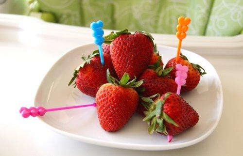 Heart Cupcake/Fruit Long Food Picks, Set Of 30
