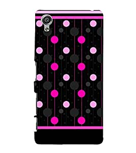 Pink Polka Dotted Lines 3D Hard Polycarbonate Designer Back Case Cover for Sony Xperia X :: Sony Xperia X Dual