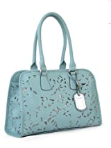 Passion Vegan Leather Medium Blue Floral Laser Cut Out Two-Handle Shoulder Handbag
