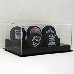 Collectible NHL Size UV Deluxe Acrylic 5 Hockey Puck Display Case Holder by Comictopia