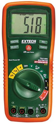 Extech Ex470 True Rms Multimeter And Infrared Thermometer With Capacitance, Frequency, And Duty Cycle Measurements; And 2 K-Type Remote Probes.