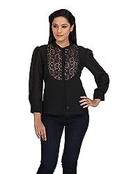 lol BLACK Color Plain Casual Top for women