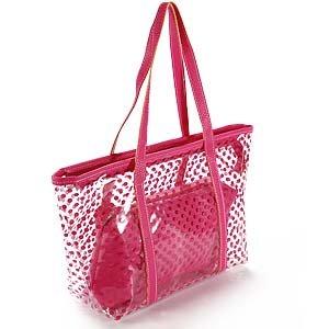 Hot Pink Ladies Polka Dot Transparent Pvc Jelly Beach Bag