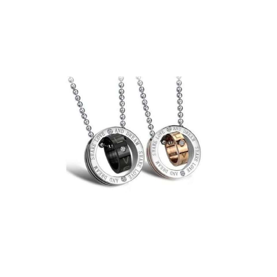 His or Hers Matching Set Titanium Couple Pendant Necklace Ring Korean Love Style in a Gift Box  NK267 (Hers(Rose Gold))