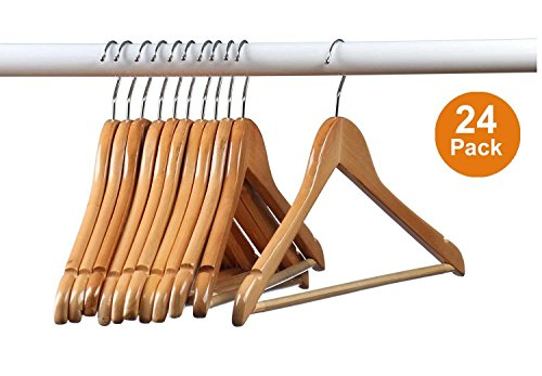 Home-it (24 Pack) Natural wood Solid Wood Clothes Hangers, Coat Hanger Wooden Hangers (Wooden Clothes Hanger compare prices)