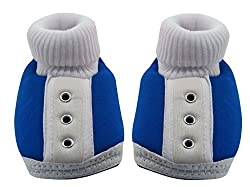 Neska Moda Standard Baby Infant Soft Blue Booties-12 CM Length For Age Group 6 - 18 Months