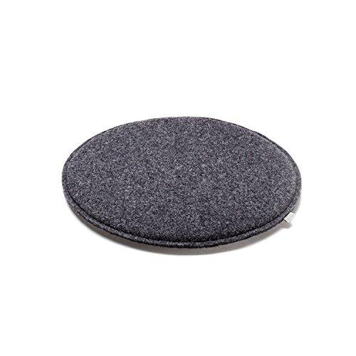 sitzkissen stuhl auflage kissen rund gepolstert woll filz gr e 36 cm farbe anthrazit. Black Bedroom Furniture Sets. Home Design Ideas