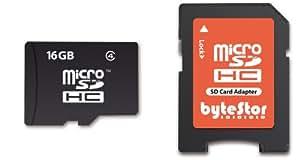 ByteStor Carte mémoire Micro SDHC avec adaptateur 16 Go Classe 4 (Import Royaume Uni)