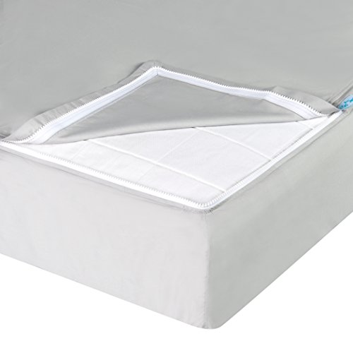 Buy QuickZip Easy Change Zipper Crib Sheet, 1 Zip-On Sheet + 1 Drop-in Base - 100% Cotton, Gray