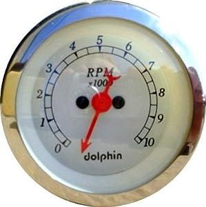 dolphin gauges 3 3 8 electronic tach white. Black Bedroom Furniture Sets. Home Design Ideas