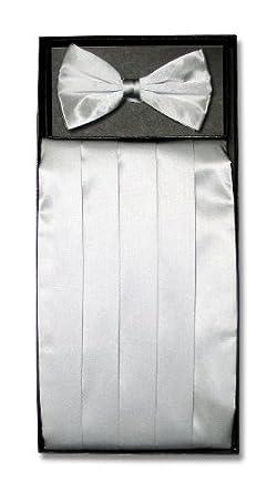 SILK Cumberbund & BowTie SILVER GRAY Grey Men's Cummerbund Bow Tie Set