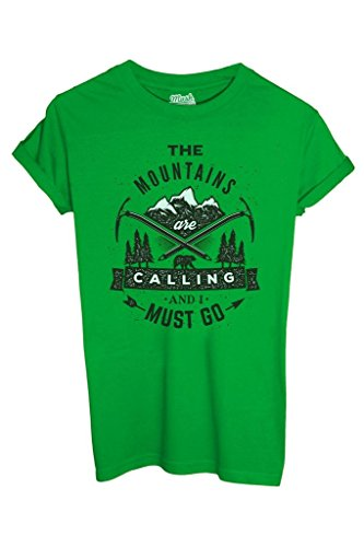 T-Shirt THE MOUNTAINS ARE CALLING - MUSH by Mush Dress Your Style - Uomo-M-Verde prato