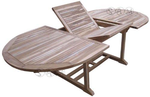 XXS® Möbel Gartentisch Aruba hochwertiges Teak Holz Tisch ausziehbar Schirmloch in der Mitte natürliche Maserung pflegeleicht Lager Speditionsversand jetzt bestellen