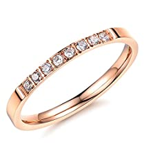 buy Titanium Stainless Steel Gold Color Women Ring Finger Bands Crystal Lady Gifts, Size Us Size 4-8